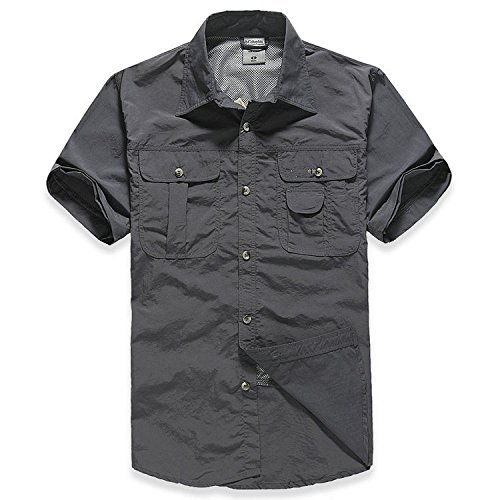 Quick-Dry-Shirt-ADiPROD-Mens-Water-Repellent-Sun-UV-Protection-Convertible-Long-Sleeve-Hiking-Camping