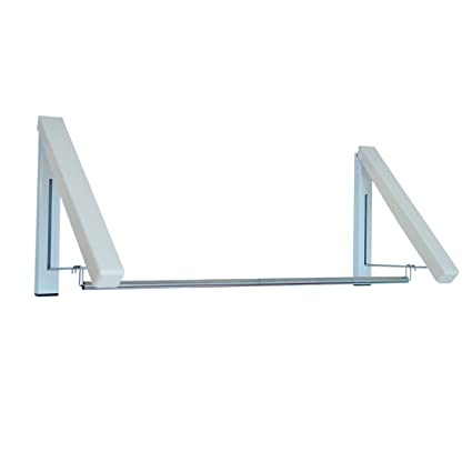Perchero de Pared Colgador de Acero inoxidable ABS Plegable 2 Varillas de Suspensión de Ropa Barra