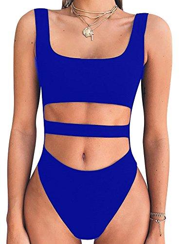 Blue Body Suit (BEAGIMEG Women's Tank Top Cut Out Sleeveless Bodice Bodysuit Party Clubwear Royal)