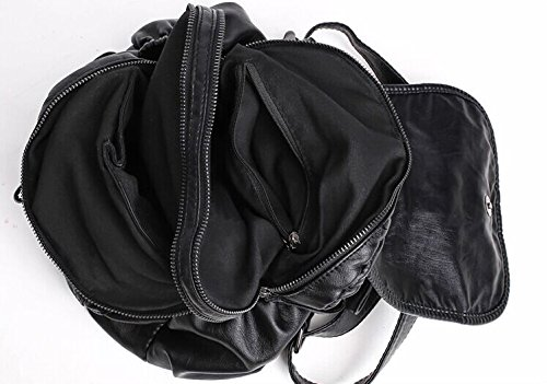 Girls Women's for Leather Backpack pockets Purse Soft with Multi Backpacks Coorisa Black4 v7dwq6xzvA