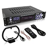 Pyle 4 Channel Home Audio Power Amplifier w/ 70V Output - 1000 Watt Rack Mount Stereo Receiver w/ AM FM Tuner, Headphone, Microphone Input for Karaoke, Great for Commercial Entertainment Use - PT720A