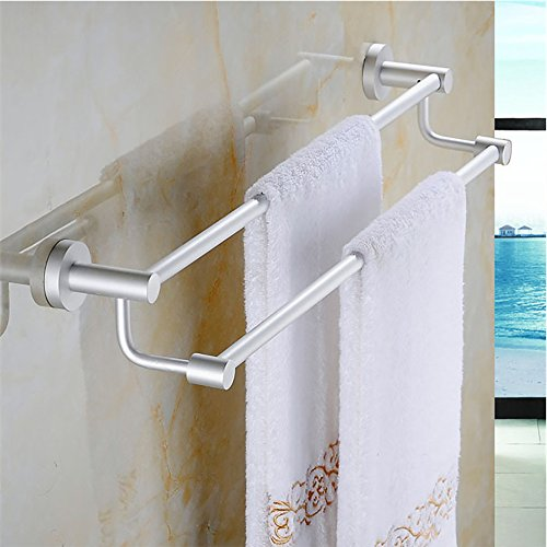 2-Arm Wall-Mounted Bathroom Towel Bar Holder Waterproof Aluminum Alloy Towel Rack Towel Shelf Bathroom Shelves for Bathroom or Kitchen (57cm / - Double Rod Towel