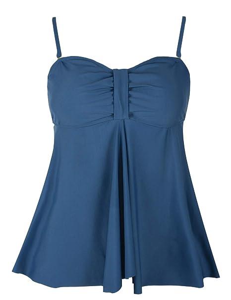817af7409c513 Hilor Women's Flyaway Tankini Top Bandeau Swimsuit Flowy Bathing Suit  Aquamarine Blue 8