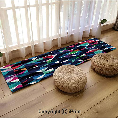 Extra Long Flannel Floor mat,Retro Pattern with Colorful Mosaic Modern Optical Artistic Structure Illustration Multicolor,18