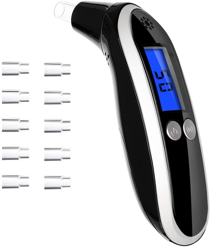 Ketone Breath Meter,Professional Digital Ketone Breath Analyzer Testing Ketosis with 10 Mouthpieces(Black)
