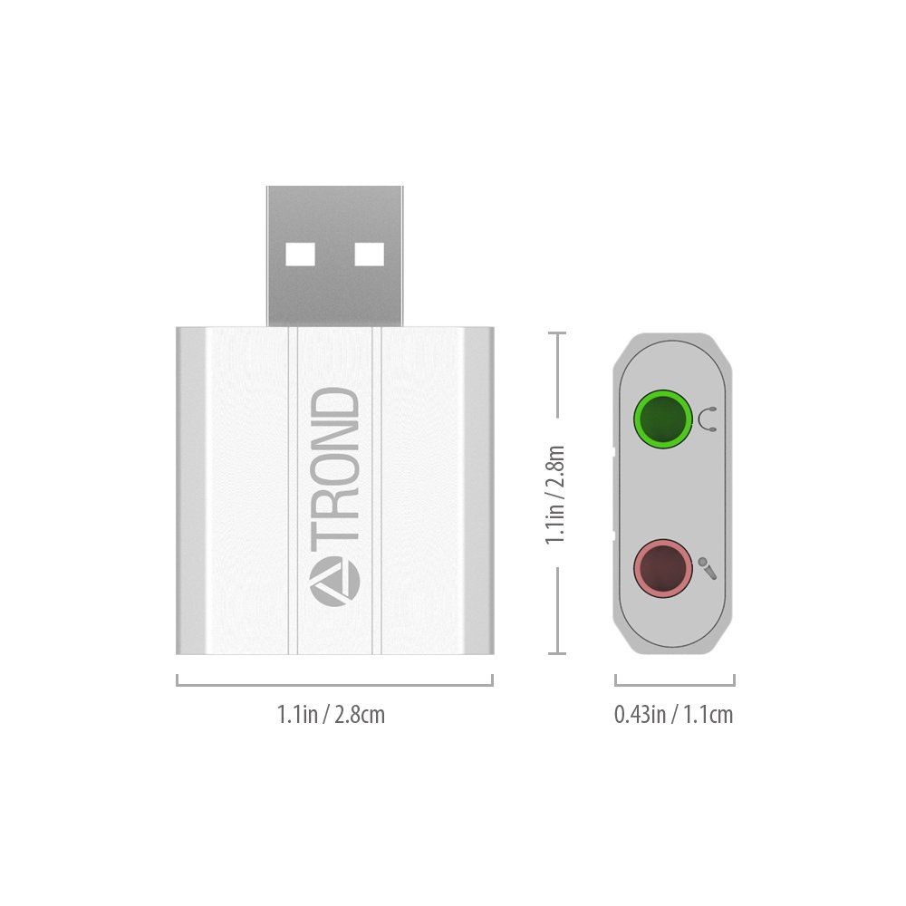 Silver Silver, C-Media HS-100 Chip, Plug-N-Play, Compatible with Windows, Mac and Linux TROND AC2 Aluminum External USB Audio Adapter Sound Card with 3.5mm Stereo Headphone//Speaker and Mono Microphone Jacks