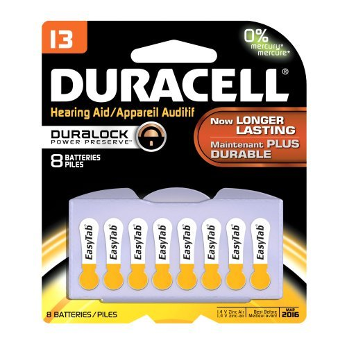 Duracell Easy Tab Hearing Aid DA13B8 Batteries - 8 CT