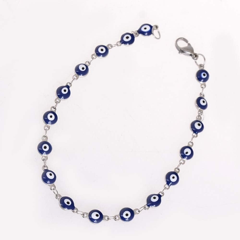 Nobrand Nuevo Diseño Azul Cristal Zircon Piedra Mal Ojo Cuentas Cadena Encanto Pulseras Plata Color Brazaletes Joyería Pulsera