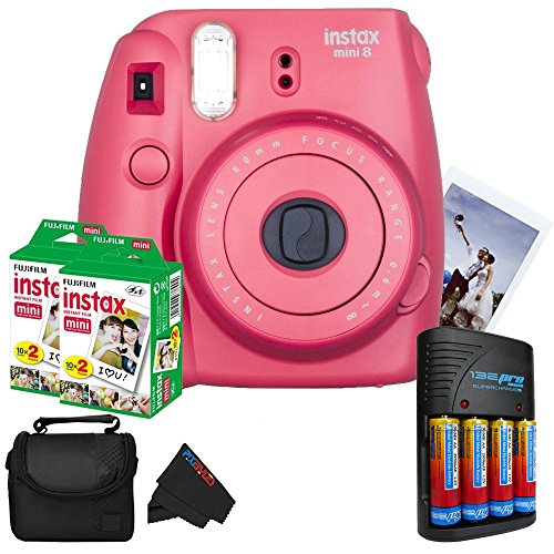 Fujifilm Instax Mini 8 Instant Film Camera (Raspberry) + (2) Fujifilm INSTAX Mini Instant Film (Twin Pack) + Pixi-Basic Accessory Bundle