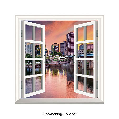 Artificial Window Wall Applique Landscape Wall Decoration,Water Reflection in Evening Urban City Hartford Connecticut Tranquil Sunset Decorative,Window Decorative Decals Interior(25.86x22.63 inch)