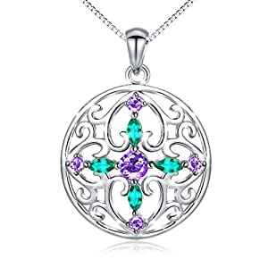 """❄Christmas Gifts❄ 925 Sterling Silver Round Cross CZ Pendant Necklace for Women 18"""""""