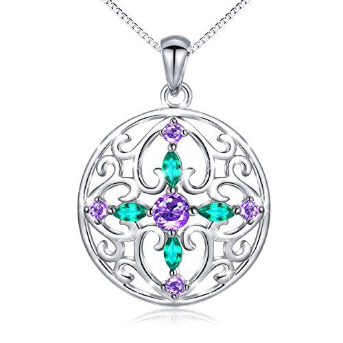 New Sterling Silver Charm Pendant (925 Sterling Silver Round Cross CZ Pendant Necklace for Women 18