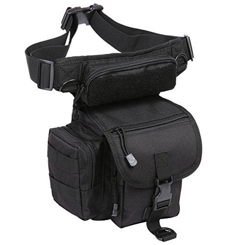 Eshow Herren Canvas Sportlich Freizeit Multi Beintasche Hüfttasche Gürteltasche Taschen, Schwarz 2