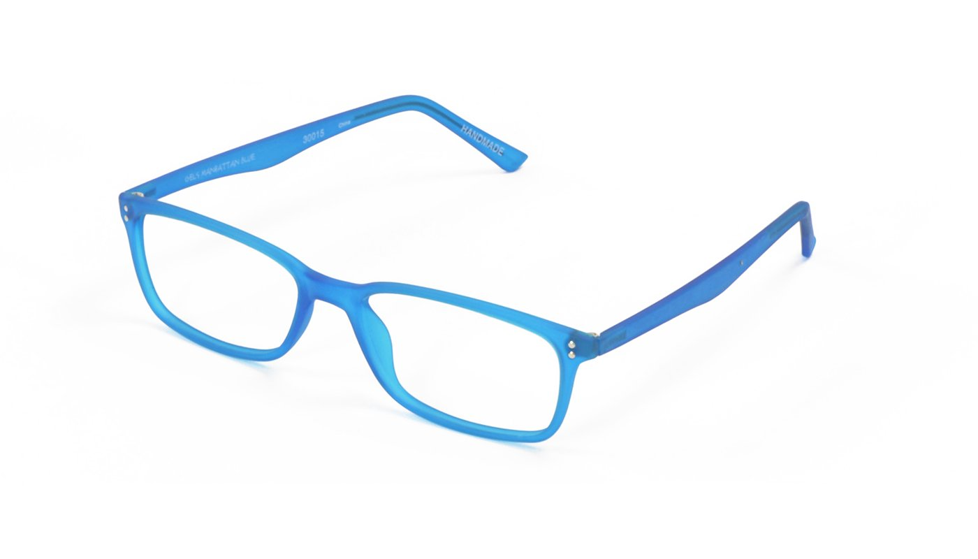 Gels Lightweight Fashion Readers - The Original Reading Glasses for Men & Women, Manhattan Frame - Blue (+1.50 Magnification Power)