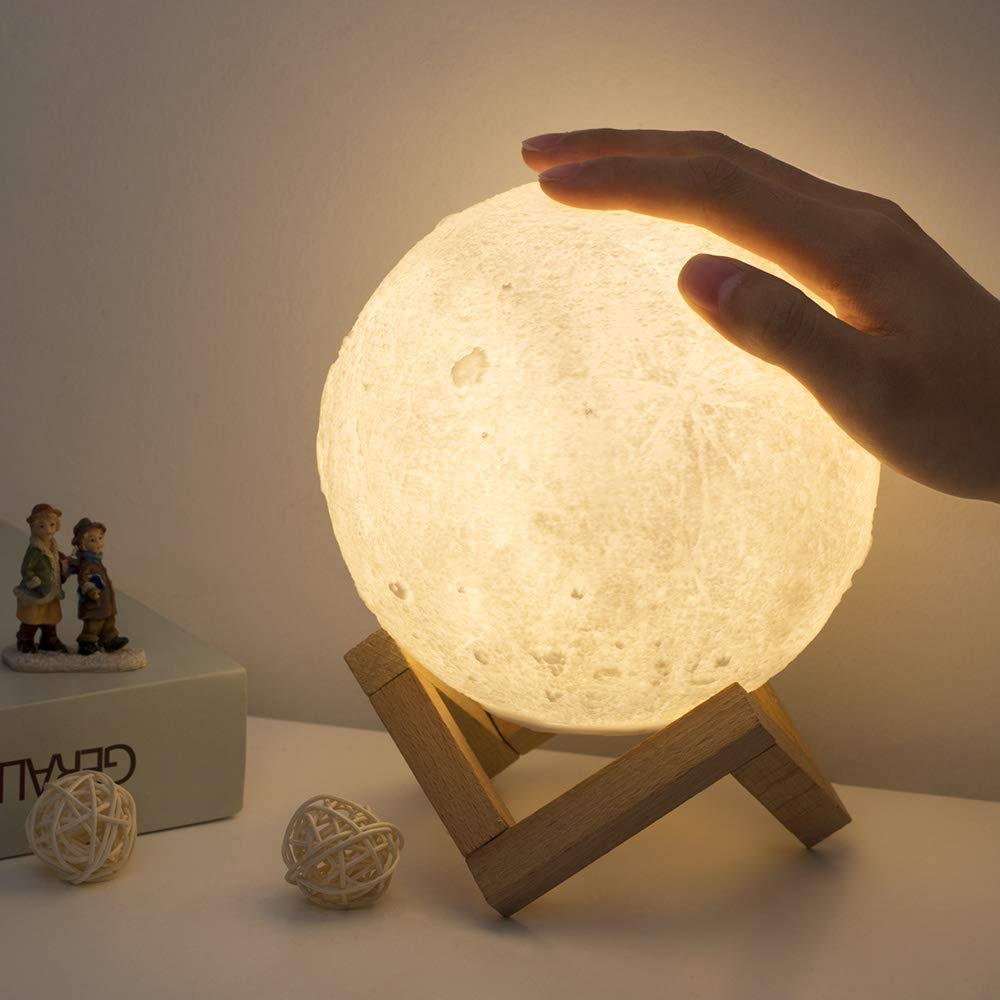 HAITRAL Moon Table Lamp – 5.9 Inch 3D Printed Touch Control Moon Night Light with 3 Colors Dimmable, Wooden Base, USB Charging Decorative Lamp for Kids, Party, Girls, Bedroom, Dorm