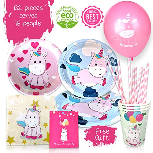 Unicorn Birthday Party Supplies - 132-Piece Decorations Set for Kids - Disposable Table Wear, Napkins, Plates, Cups, Straws - Includes Party Invitations and Balloons as FREE GIFT - Funny Colorful Design