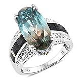925 Sterling Silver Platinum Plated 10.9 Cttw Oval Aqua Terra Costa Quartz, Multi Gemstone Ring Size 10