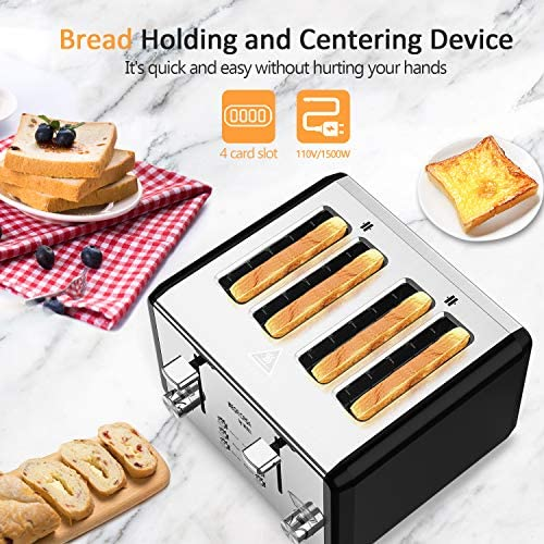 4 Slice Toaster,whall Stainless Steel,Bagel Toaster-6 Bread Shade Settings,Bagel/Defrost/Cancel Function with Dual Control Panels,4 Extra Wide Slots,Removable Crumb Tray,for Various Bread 1500W/Black