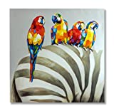 "In Liu Of | Modern Oil Painting on Canvas ""Talking Stripes"" (Parrots and Zebra) Hand-Painted Nature Scene w/ Colorful Animals 
