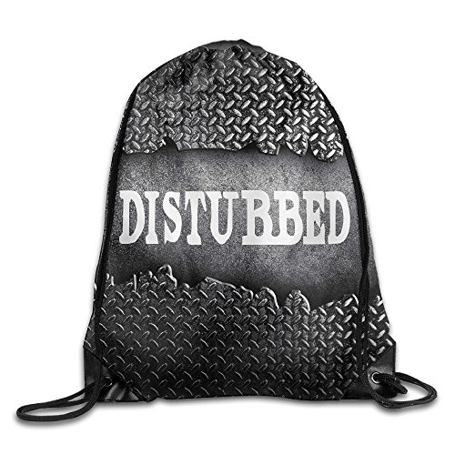 BYDHX Disturbed Heavy Metal Band Logo Drawstring Backpack Bag White