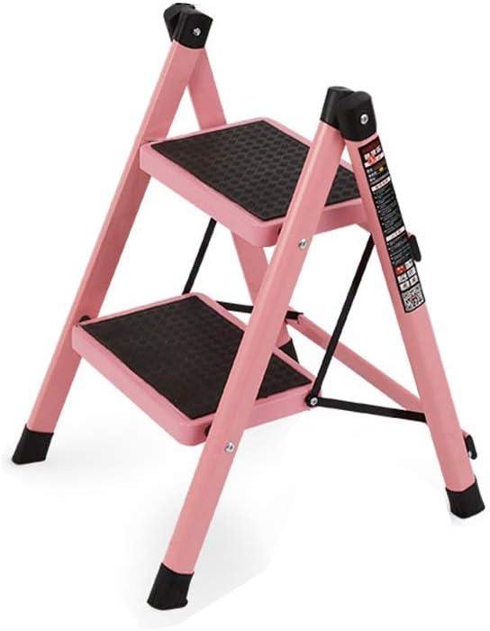 QFF 2 Stufen 3 Stufen Metallleiter Innenleiter-Rahmen Convenience Store Dual-purpose Stufenleiter Haushaltsleiter Hocker falten Color : Black, Size : 40 * 48 * 58.5CM