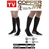 Copper Fit Energy Compression Knee High Socks, Black Large/XL