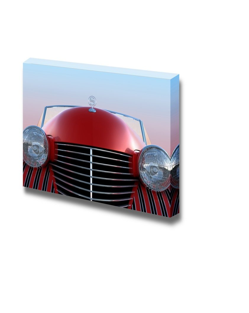 Front View Of Red Retro Car Over Blue Sky Background Wall Decor
