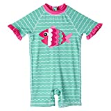 Wippette Infant Girls 1-PC Rashguard Sun Protection Swimsuit, Fish & Waves