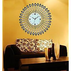 ZHENAI Silent Wall Clock Living Room Large Clock Fashion Creative Crystal Table Simple Hanging Table European Quartz Clock Office