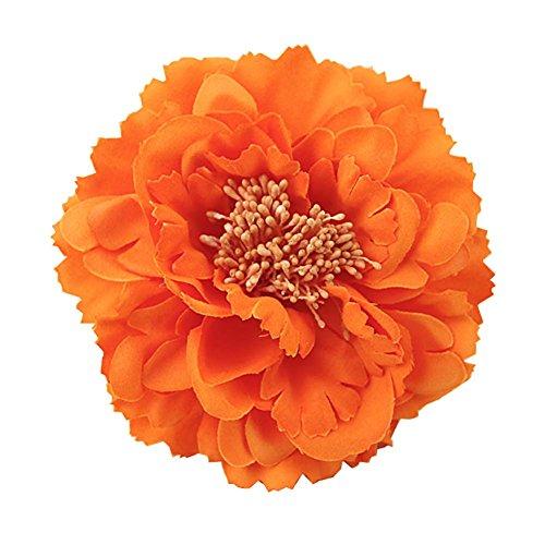 Kewl Fashion Women's Bohemia Peony Flowers Hairpin Hair Clip Flower Brooch (Orange #)