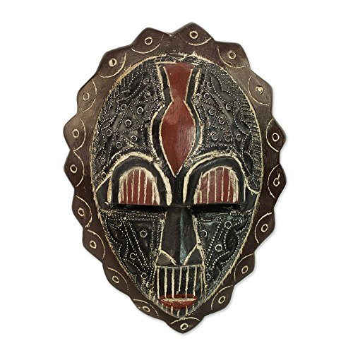 NOVICA Brown and Red Ghanaian Sese Wood Wall Mask, Happiness