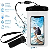 Crazefoto Premium Quality Universal Waterproof Phone Holder with ARM BAND & LANYARD - Best Grade Water Proof,Dustproof & Shockproof Pouch Bag Case for Apple iPhone, Android and All SmartPhone(Clear)