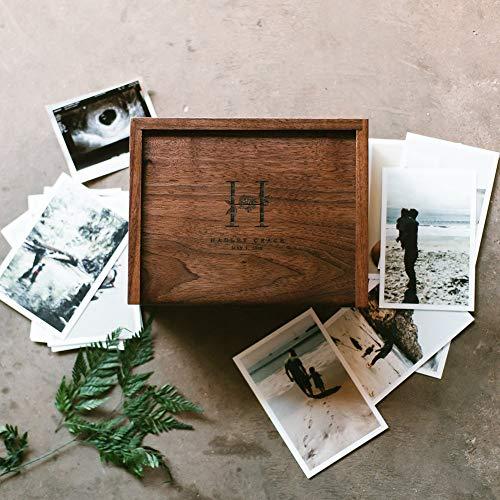 Keepsake Box - Engraved Wooden Box - Wood Photo Box - Personalized Walnut Memory Box - Custom Wooden Box - Wedding Card Box