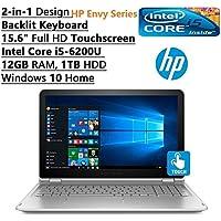 HP Envy X360 2-in-1 Convertible Premium 15.6 Full HD Touchscreen Backlit Keyboard Laptop PC, Intel Dual-Core i5-6200U, 12GB RAM, 1TB HDD, Wi-Fi, Bluetooth, Webcam, HDMI, USB 3.0, Windows 10