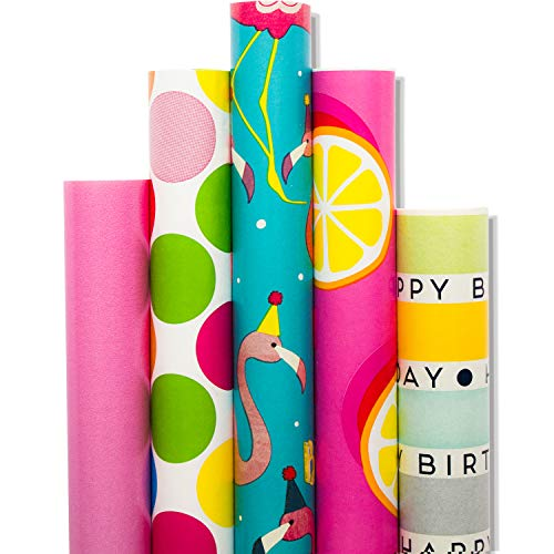 Wrapping Paper - 5 Roll-30Inch x 10Feet Per Roll-Design for Birthday, Mother Day, Valentine`s Day, Wedding, Baby Shower, Christmas Gift Wrap, Flamingo, ()