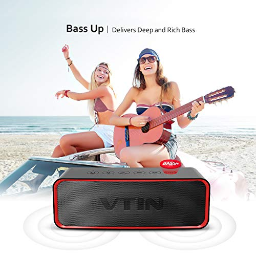 VTIN IPX6 Waterproof Portable Bluetooth Speaker with Enhanced Bass, HiFi-Tec, HD Sound, Support AUX in, Indoor/Outdoor Wireless Speaker for Smartphones, Waterproof Speaker for Party/Beach/Car/Dance by Vtin (Image #3)