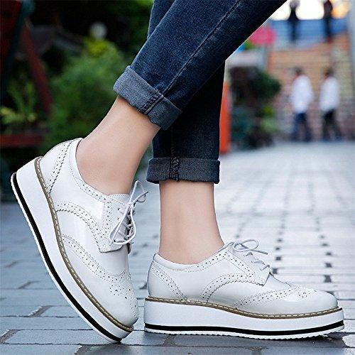 Baskets Femmes Lacets Ville Cuir Derbies Plateforme DADAWEN à Chaussures Brogues de 4xaq8