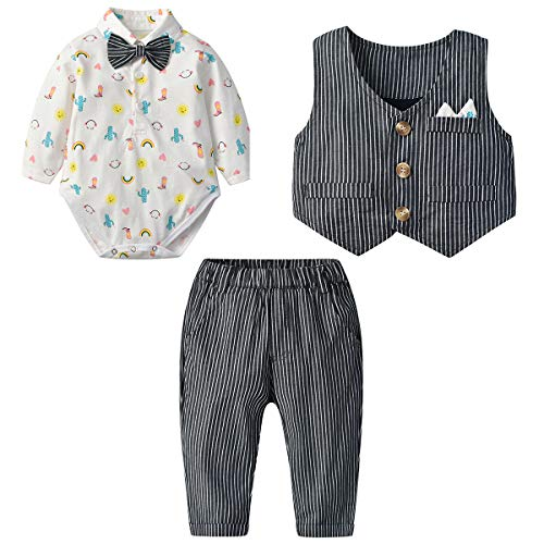 (famuka Baby Boy 3 Piece Formal Outfit Suit with Bows Waistcoat Gentleman Tuxedo (Stripes, 6-9 Months))