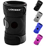 Knee Support Brace By LOKSER™ - Fully Adjustable & Breathable Construction with Patella Kneecap Opening - Anti-Slip Silicone Strips - 100% Satisfaction Guaranteed!