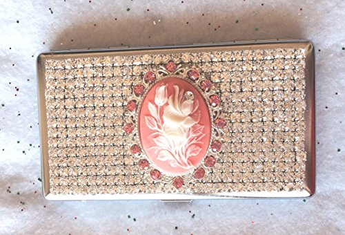 (Cameo Style Crystal Rhinestone Cigarette Box Case for 100s 120s - USA - Sparkly! (Pink Rose, Stainless Steel))