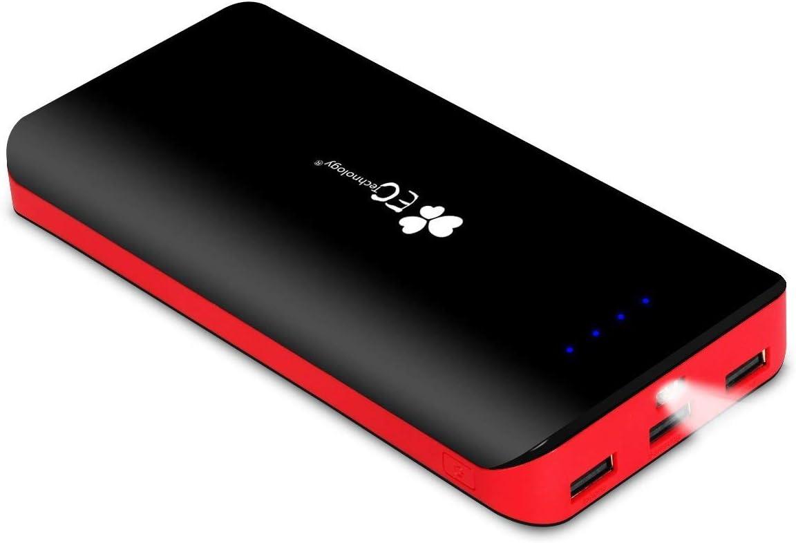 EC TECHNOLOGY Bateria Externa para Movil de Bateria Portatil 22400mah PowerBank de Cargador Externo Carga Rápida de 3 Puertos de Output con Luz indicador con Micro USB para Smartphone, Tableta