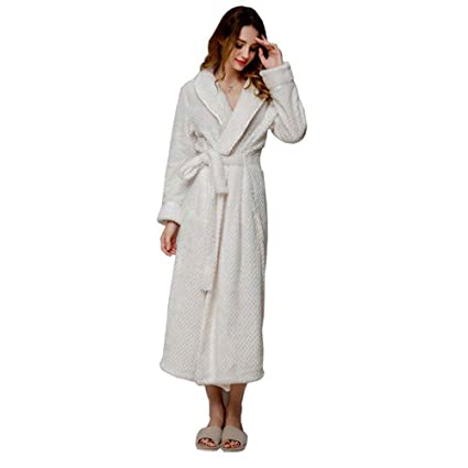 9f5c750c4c Image Unavailable. Image not available for. Color  HUIFEI Bathrobe for Men  and Women Autumn and Winter Thick Flannel Nightgown Long Couple ...