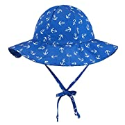 ThunderCloud Baby 50+ SPF UV Protective Wide Brim Bucket Hat,Anchors,0-12 Months
