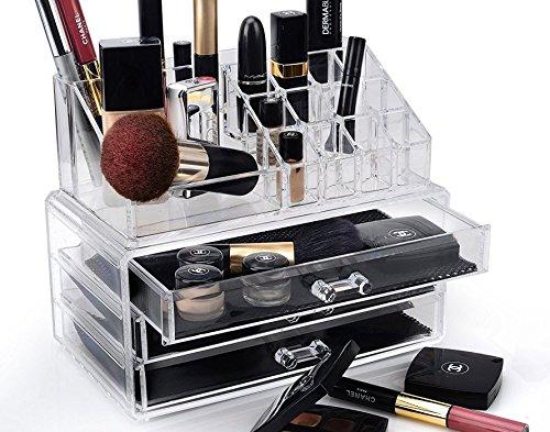 DECO EXPRESS Joyería de maquillaje premium Organizador cosmético Estuche de tocador de exhibición de organizador de maquillaje de 2 niveles Soporte
