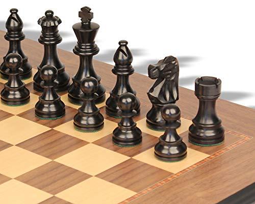 - French Lardy Staunton Chess Set Ebonized & Boxwood Pieces with Walnut Molded Edge Chess Board - 3.25