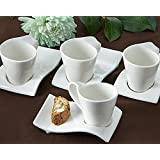 """Artisano Designs """"Swish"""" Cup and Biscotti Plates, Set of 4"""