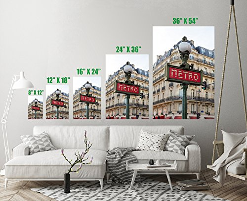 Metro Sign Street Lamp Paris France Art Print Wall Decor Unstretched - Unframed Canvas 36 x 54 - XL - Park Handcrafted Lamp