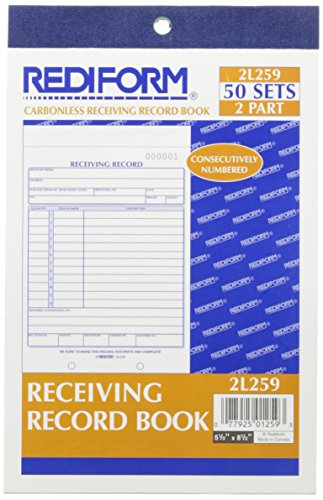 Rediform Receiving Record Book, Carbonless, 5.5 x 7.875 inches, 50 Duplicates (2L259)