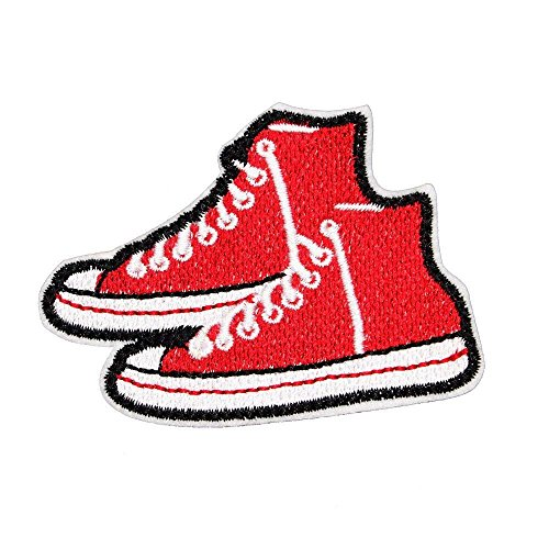 U-Sky Sew or Iron on Patches - Red Canvas Shoes Patch - Pack of 3pcs