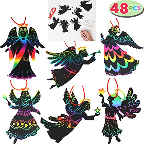 (JOYIN Rainbow Color Scratch Angel Ornaments (5